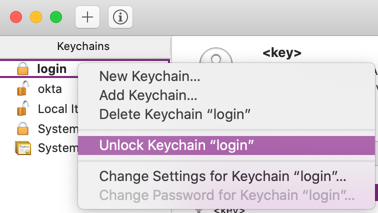 "The ""Unlock Keychain ""login"" option"