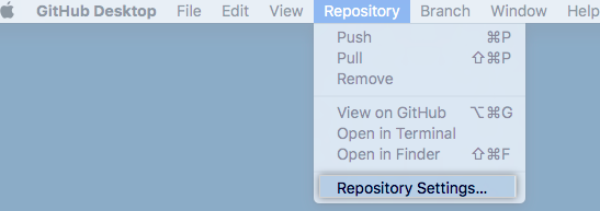 Repository Settings menu option