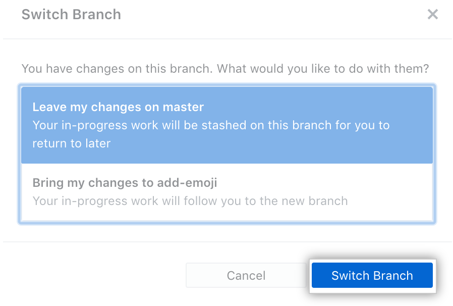 Switch branch with changes options