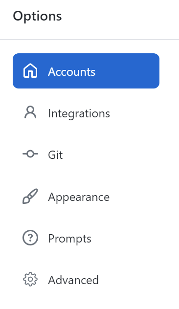 The Accounts pane in the Options window