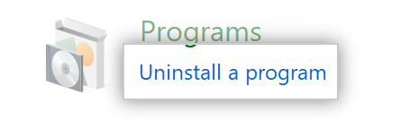 The Uninstall a Program option in Control Panel