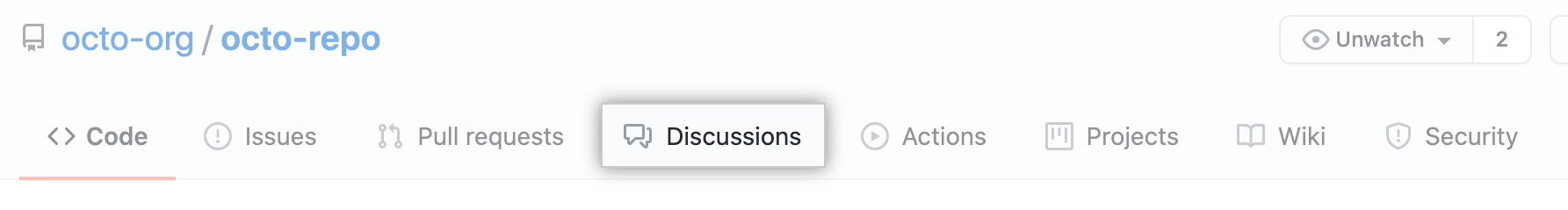 """Discussions"" tab for a repository"