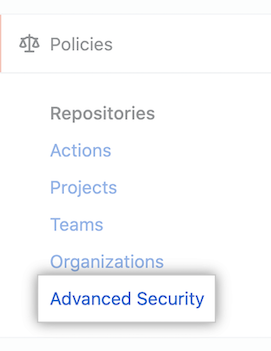 """Advanced Security"" policies in sidebar"