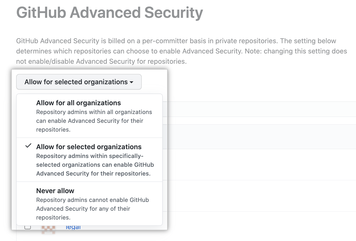 Drop-down to select Advanced Security policy for organizations in the enterprise account