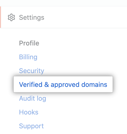 """Verified domains"" tab"