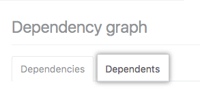 Dependents tab on the dependency graph page