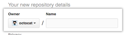 Repository owner menu and repository name field
