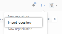 Import repository option in new repository menu