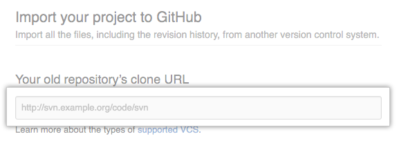 Text field for URL of imported repository
