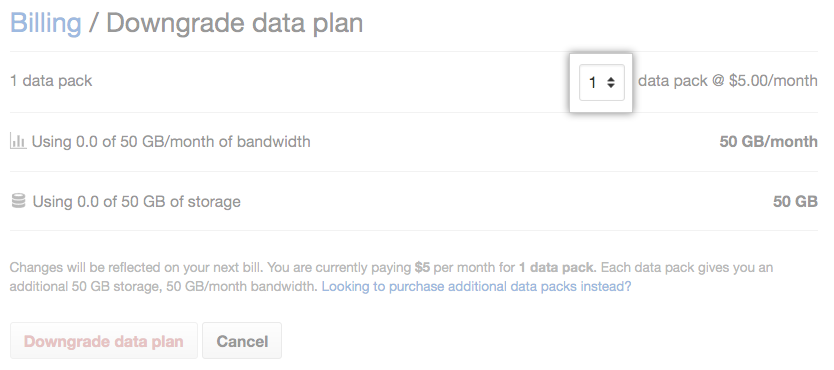 Choose new desired number of data packs