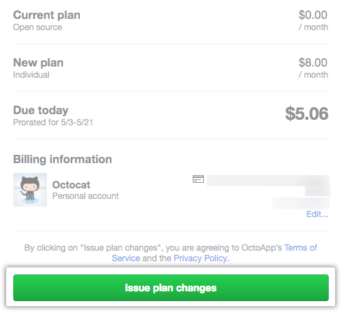 Summary of your old plan, new plan, and billing information, and Issue plan changes button