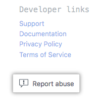 Button to report an app in GitHub Marketplace
