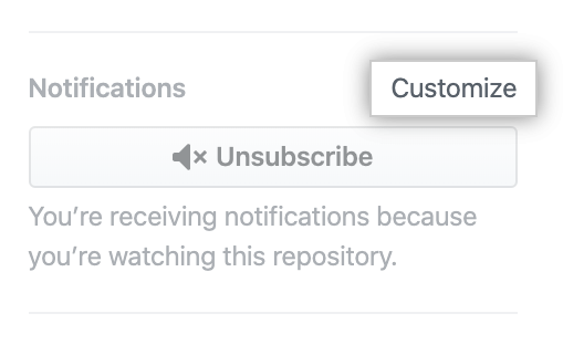 "Customize option under ""Notifications"""