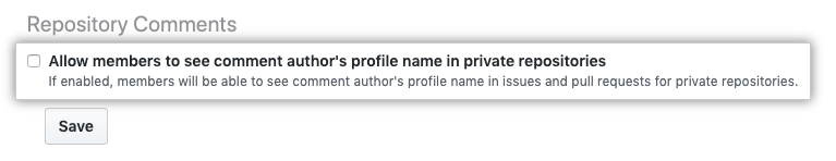 Checkbox to allow members to see comment author's full name in private repositories