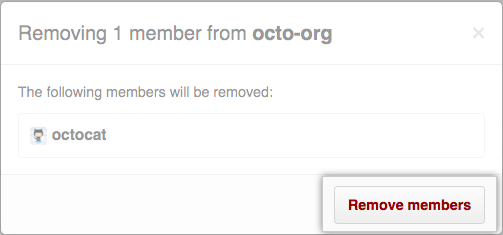 Remove members confirmation button