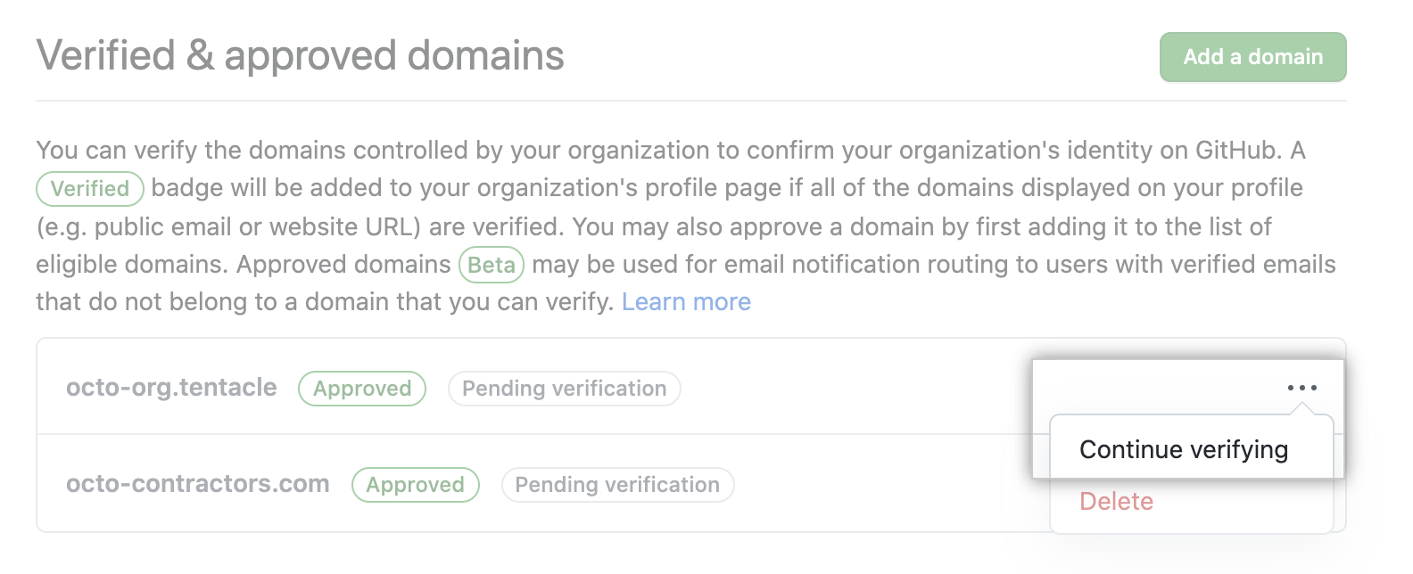 Continue verifying domain button