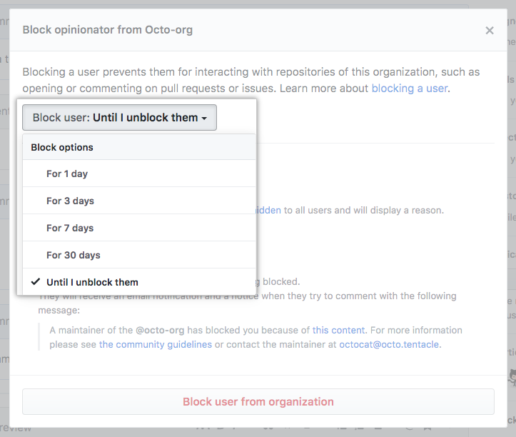 Block time limit in the block user drop-down menu
