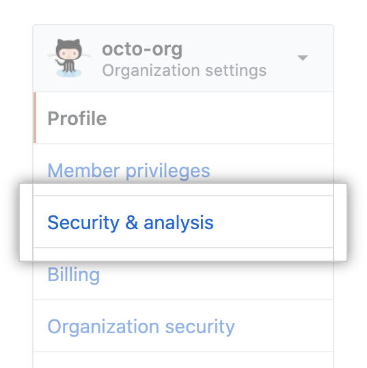 """Security & analysis"" tab in organization settings"