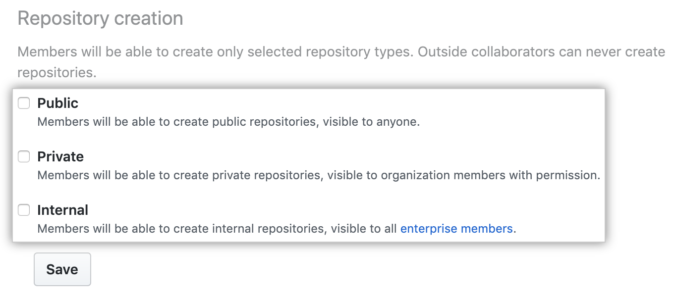 Repository creation options