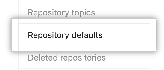 Repository defaults tab