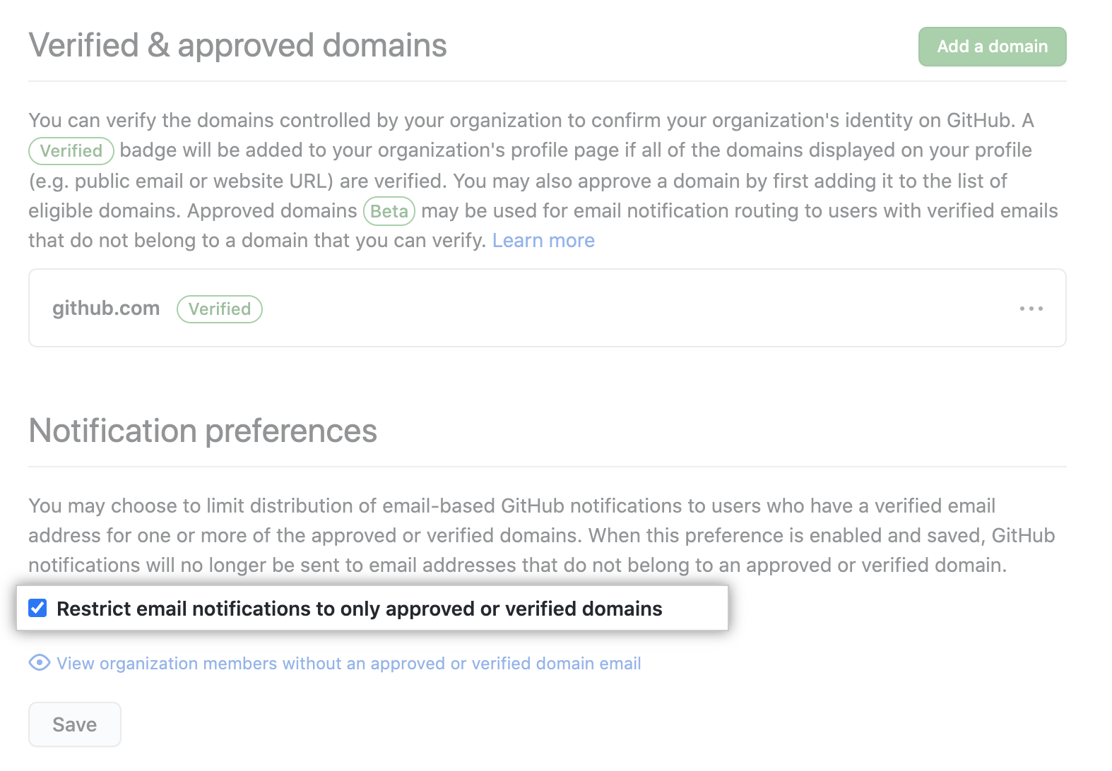 Checkbox to restrict email notifications to verified domain emails