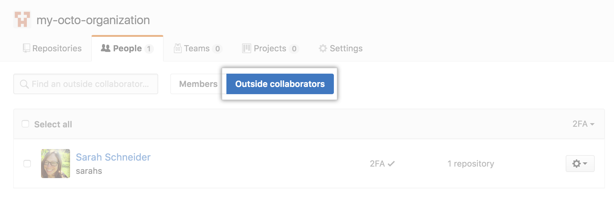 Button to select outside collaborators for an organization