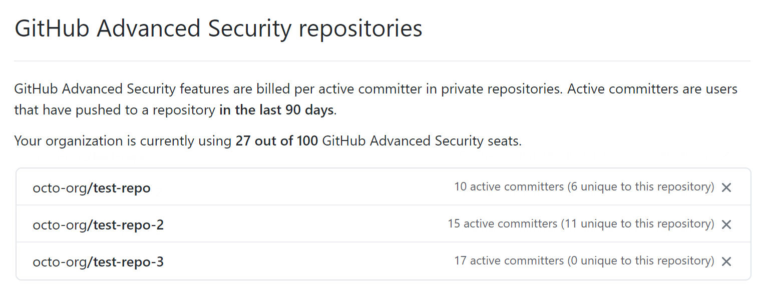 GitHub Advanced Security repositories section