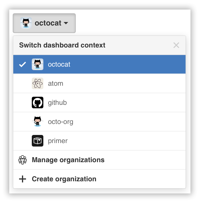 "Dropdownmenü ""Switch account context"" (Wechseln des Konto-Kontexts)"