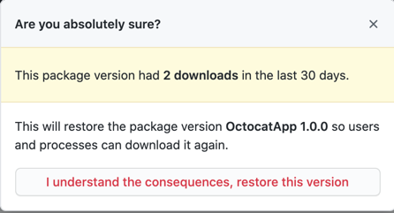 Confirm package version restoration