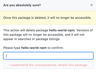 Confirm package deletion button