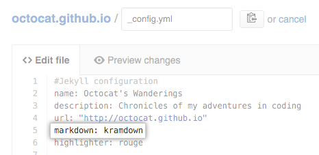 Markdown setting in config.yml
