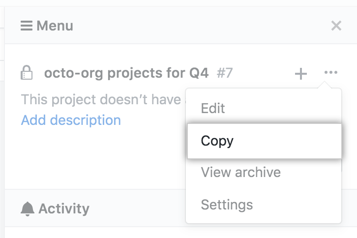 Copy option in drop-down menu from project board sidebar