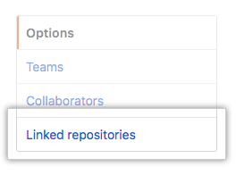 Linked repositories menu option in left sidebar