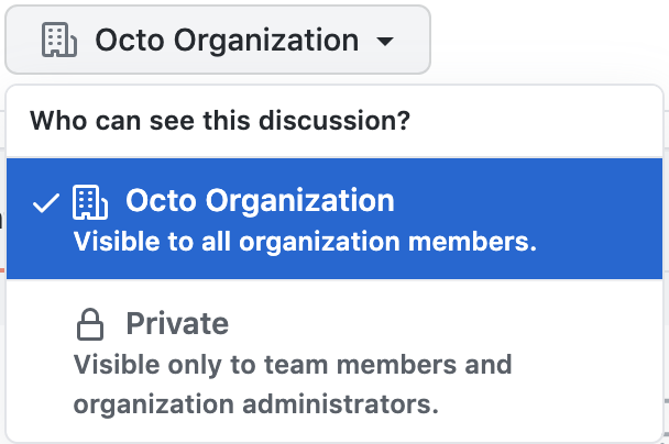 Team discussions privacy settings menu