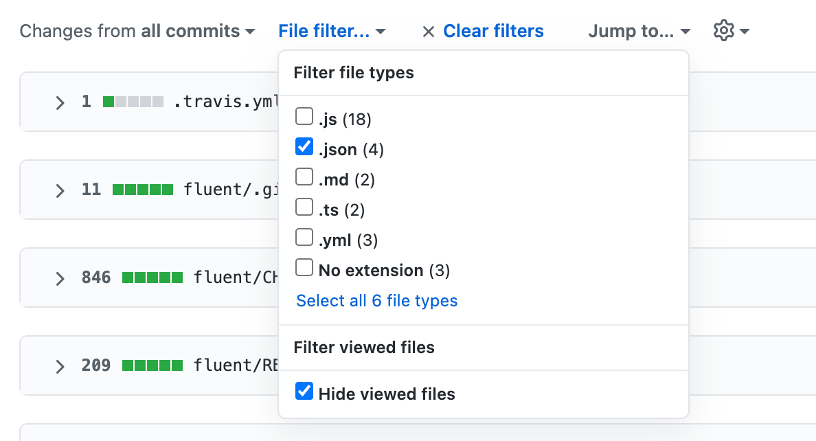 The file filter menu