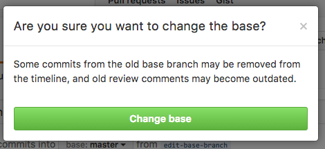 Base branch change confirmation button