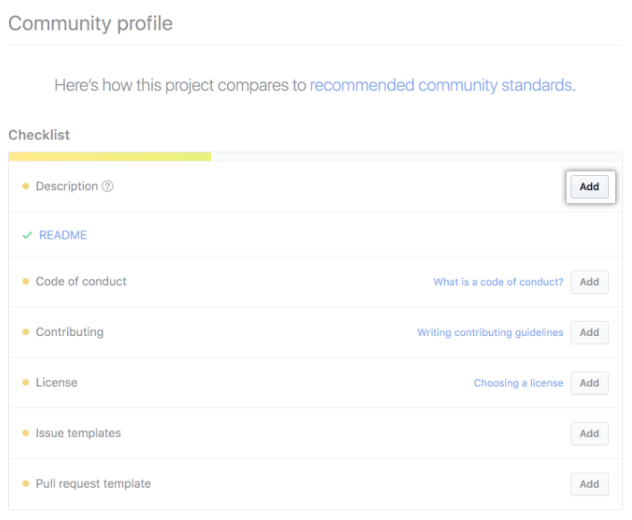 Community profile checklist with recommended community standards for maintainers