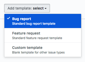 Add template drop-down menu