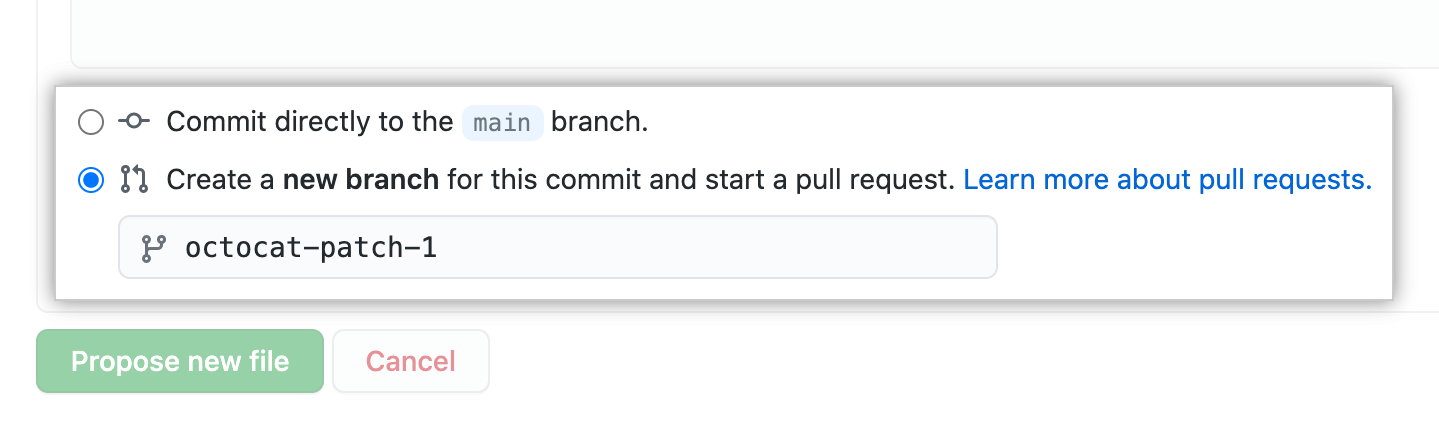 Branch-Optionen für Commit
