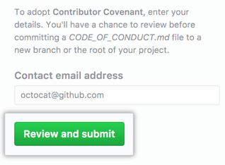 Review and submit code of conduct to project