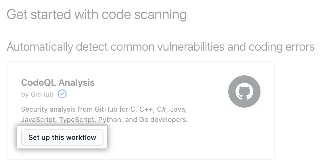 """Set up this workflow"" button under ""Get started with code scanning"" heading"