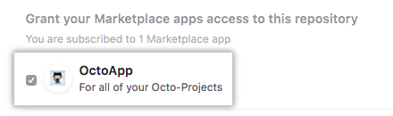 List of your account's GitHub Apps from GitHub Marketplace and option to grant access