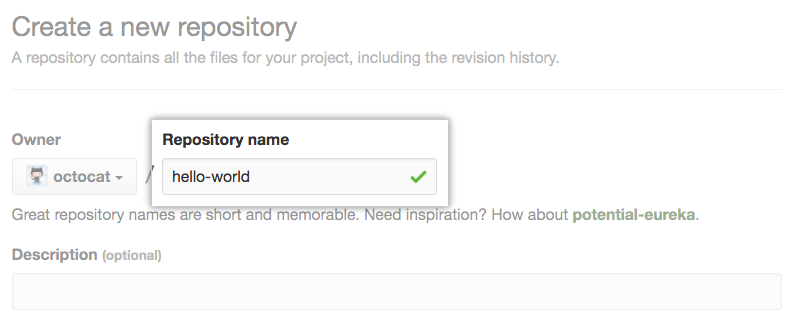 Repository name field