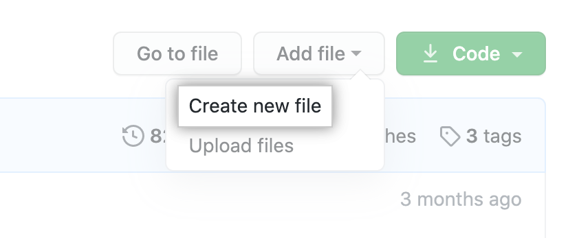 """Create new file"" in the ""Add file"" dropdown"