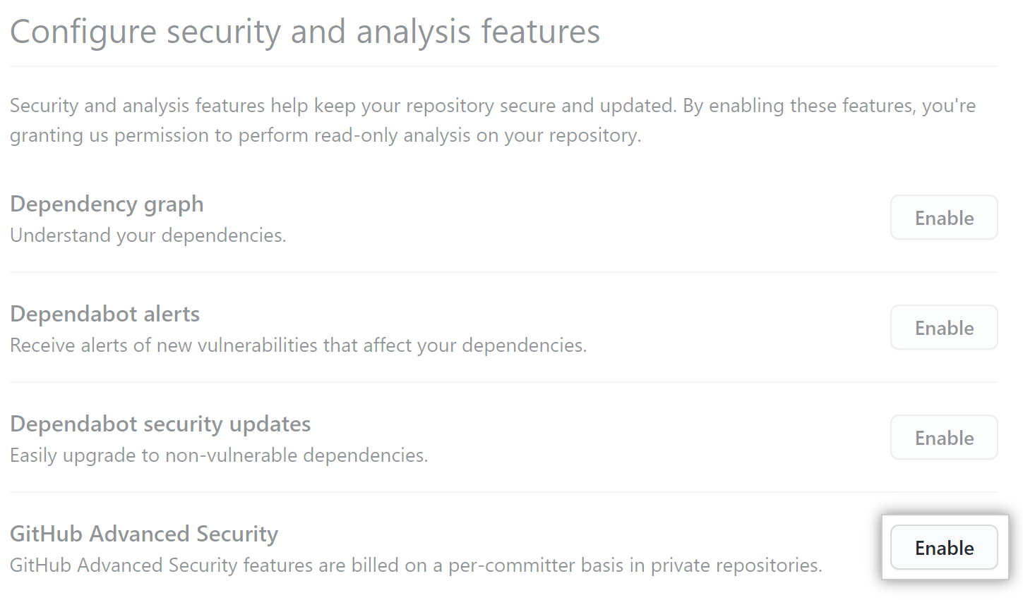 Enable GitHub Advanced Security for your repository