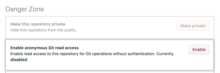"""Anonymous Git read access"" の下の ""Enabled"" ボタン"