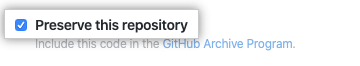 Checkbox for allowing GitHub to include your code in the GitHub Archive Program