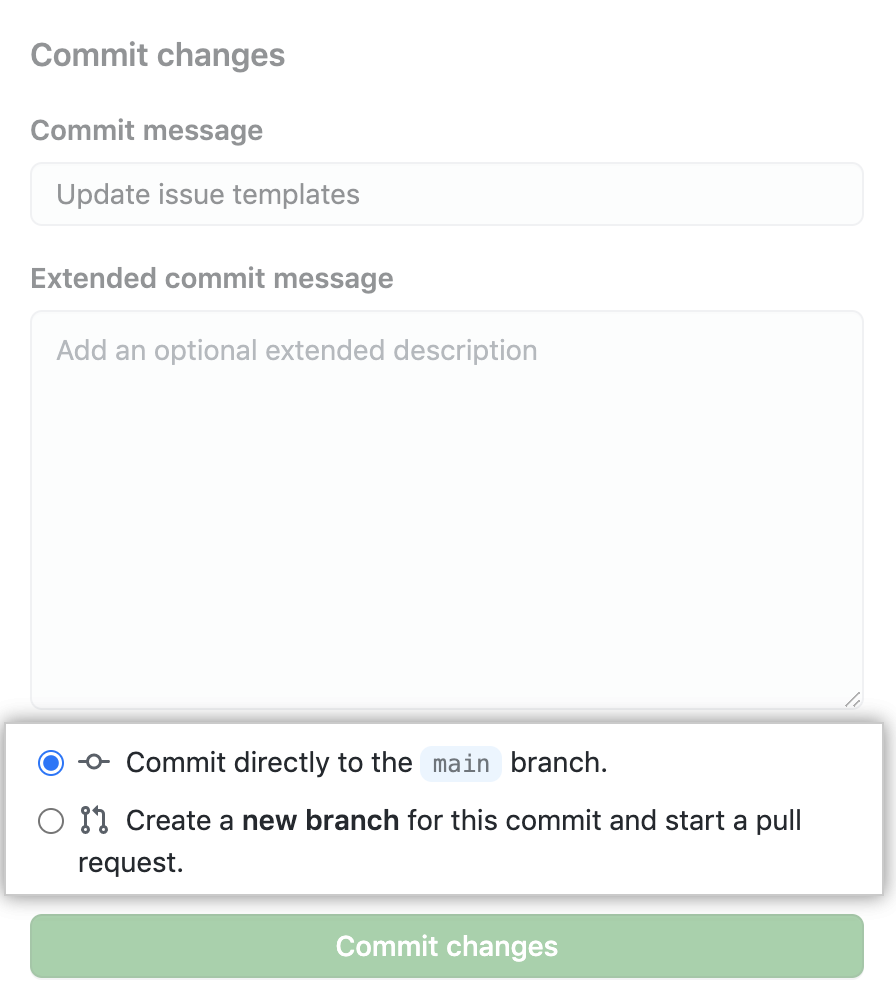 Issue template commit to main or open pull request choice