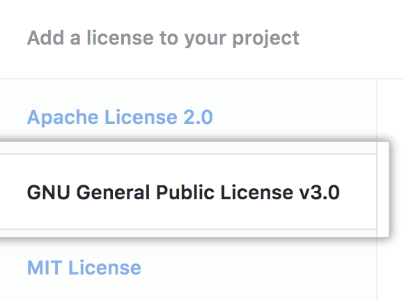 List of available licenses