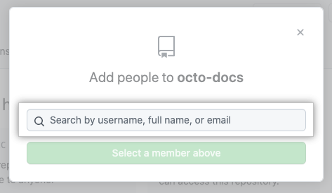 Search field for typing the name of a person to invite to the repository